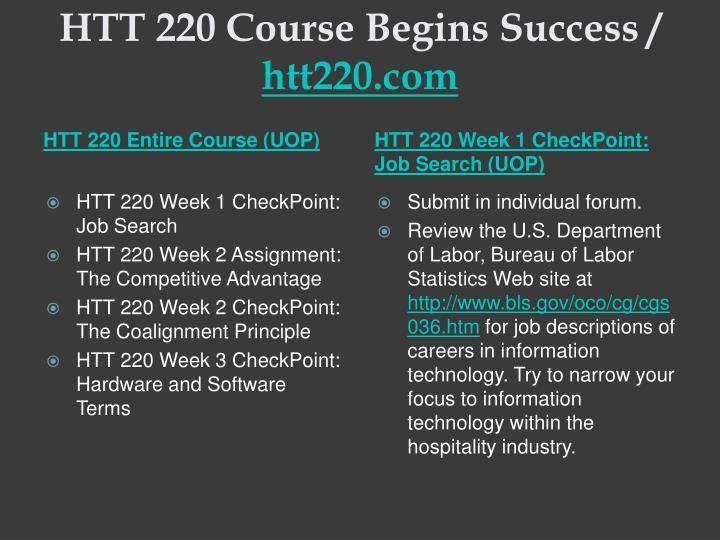 Htt 220 course begins success htt220 com1