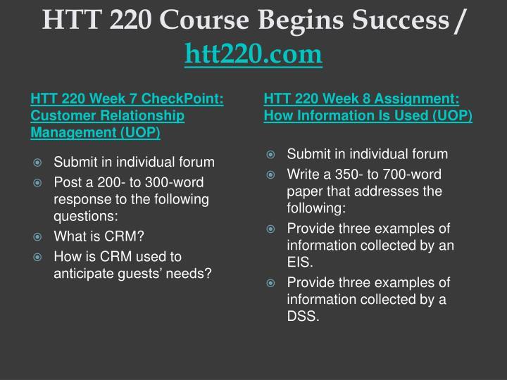 HTT 220 Course Begins Success /