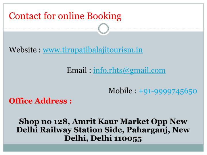Contact for online Booking
