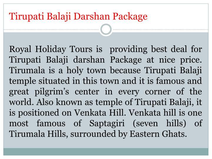 Tirupati Balaji Darshan Package