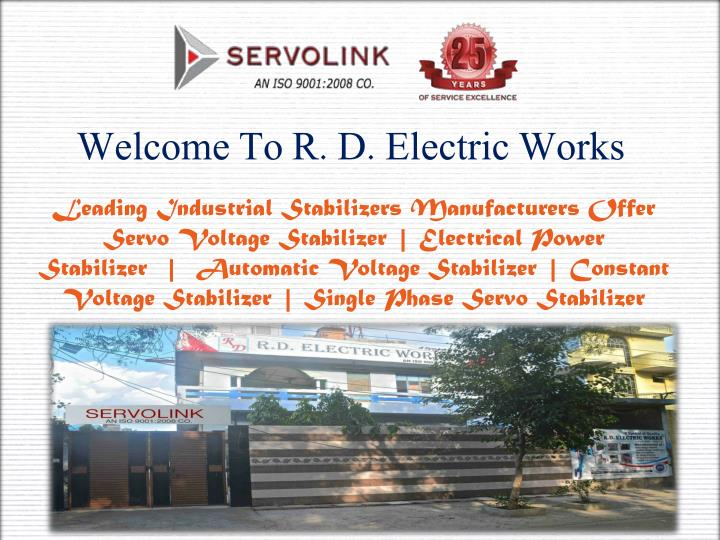 Welcome To R. D. Electric Works