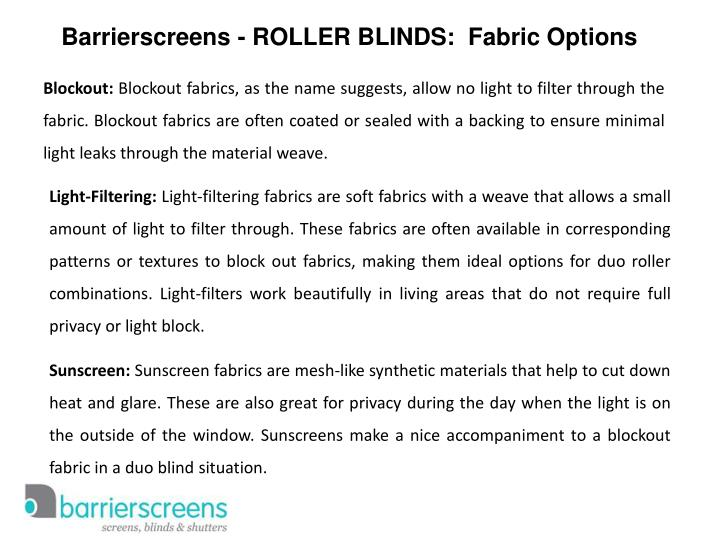 Barrierscreens - ROLLER BLINDS:  Fabric Options