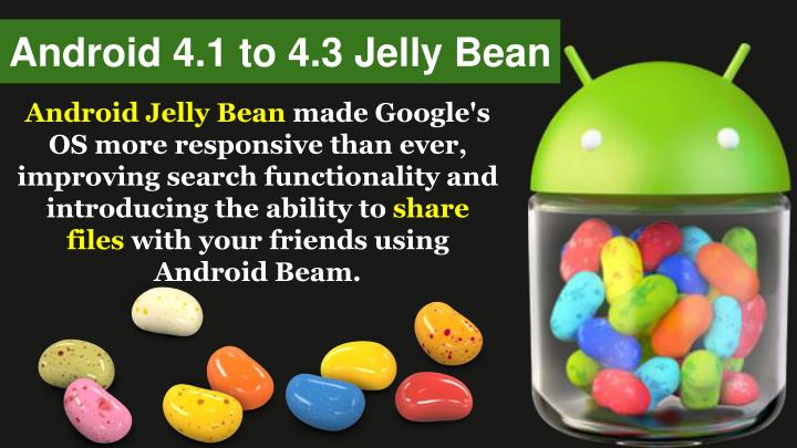 Android 4.1 to 4.3 Jelly Bean