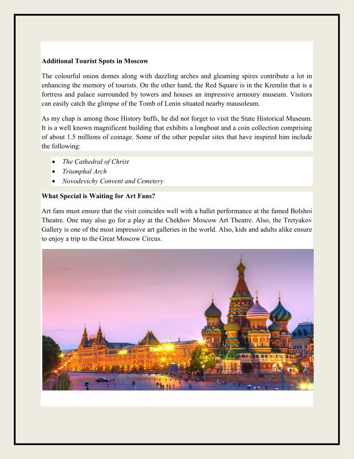 Additional Tourist Spots in Moscow