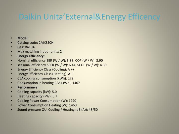 Daikin unita external energy efficency