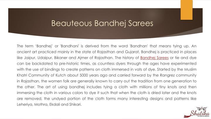 Beauteous bandhej sarees