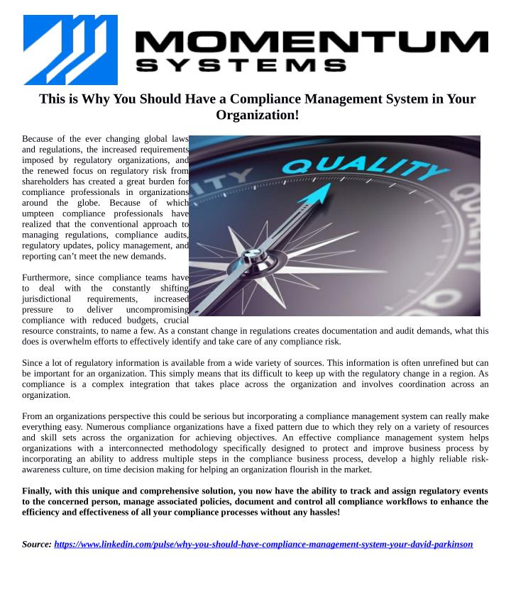 This is Why You Should Have a Compliance Management System in Your