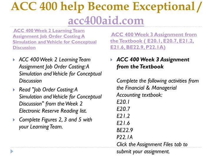 ACC 400 help Become Exceptional