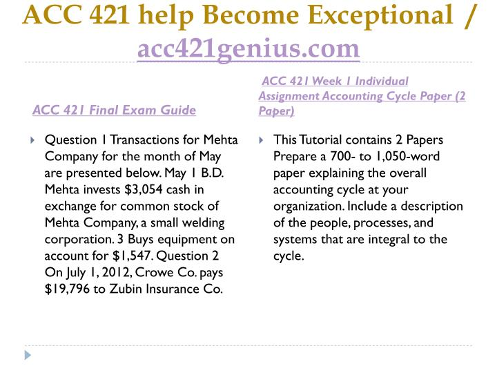 Acc 421 help become exceptional acc421genius com2