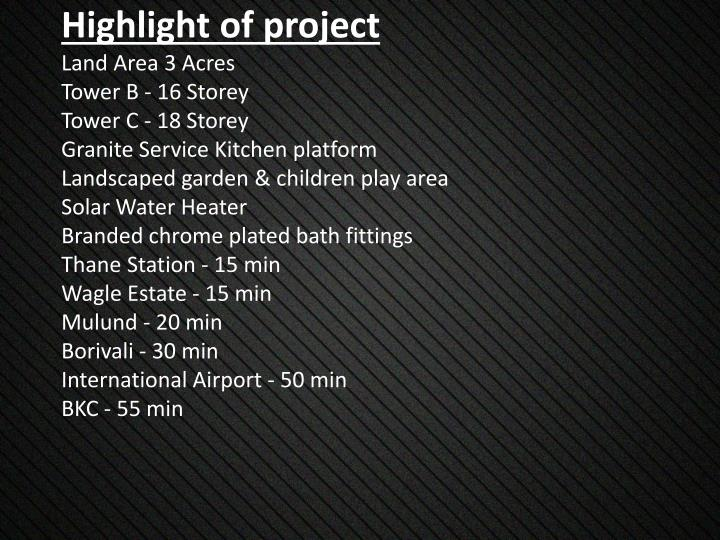 Highlight of project