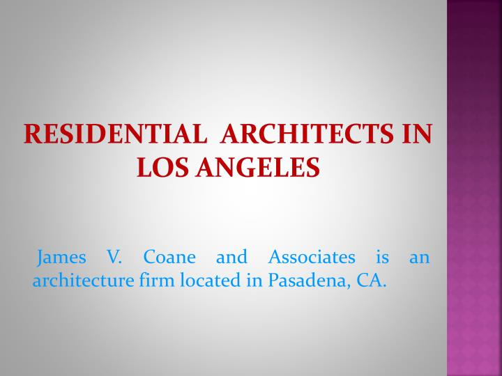 Residential architects in los angeles
