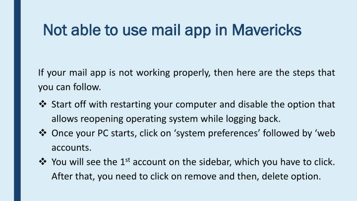 Not able to use mail app in Mavericks