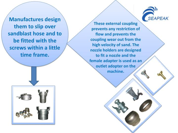 Manufactures design them to slip over sandblast hose and to be fitted with the screws within a little time frame.