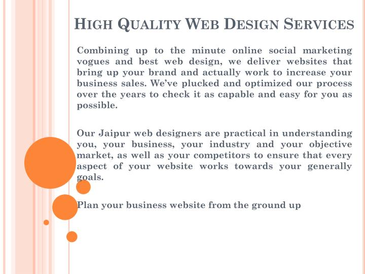 High quality web design services