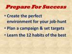 prepare for success