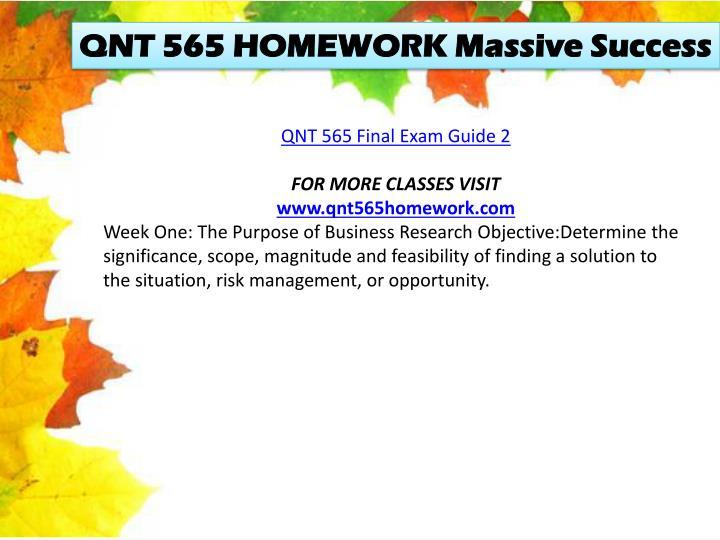QNT 565 HOMEWORK Massive Success