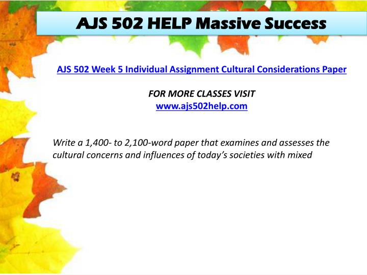 AJS 502 HELP Massive Success