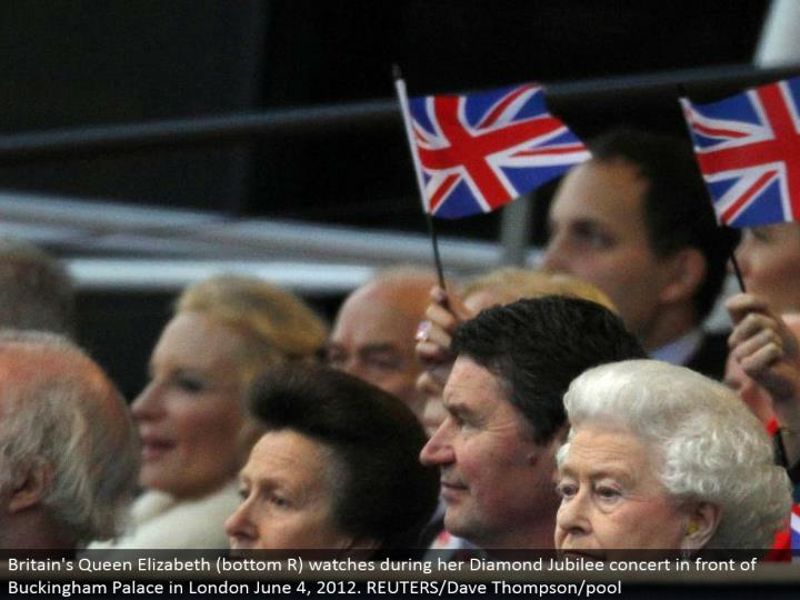 Britain's Queen Elizabeth (base R) watches amid her Diamond Jubilee show before Buckingham Palace in London June 4, 2012. REUTERS/Dave Thompson/pool