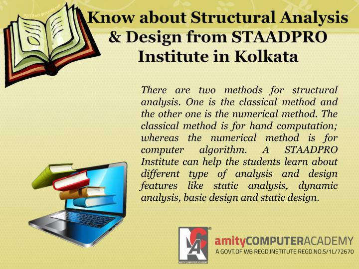 Know about Structural Analysis & Design from STAADPRO Institute in Kolkata