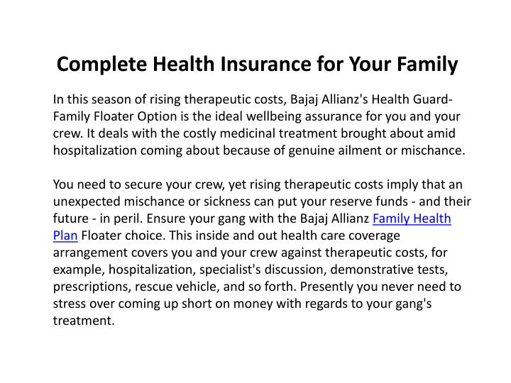 Complete Health Insurance for Your Family