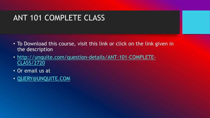 Ant 101 complete class1