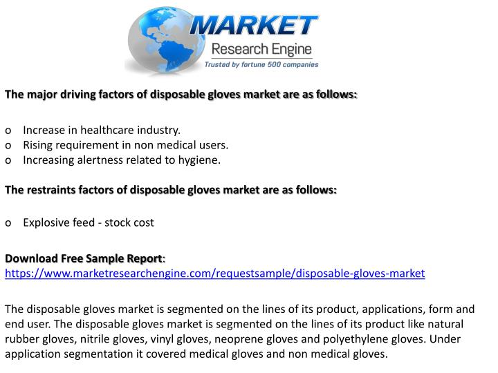 The major driving factors of disposable gloves market are as follows: