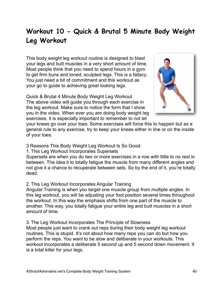 Workout 10 - Quick & Brutal 5 Minute Body Weight