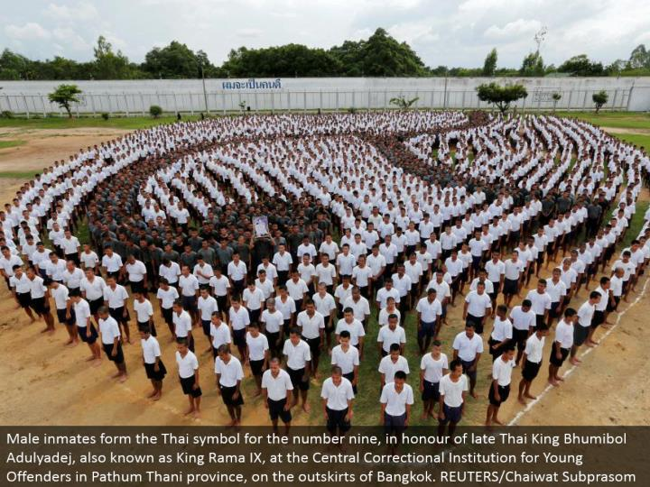Male prisoners frame the Thai image for the number nine, out of appreciation for late Thai King Bhumibol Adulyadej, otherwise called King Rama IX, at the Central Correctional Institution for Young Offenders in Pathum Thani area, on the edges of Bangkok. REUTERS/Chaiwat Subprasom