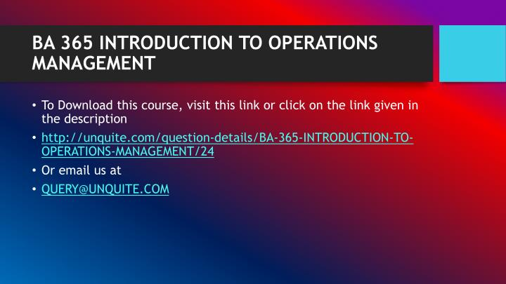 Ba 365 introduction to operations management1