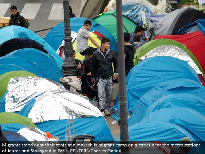 Migrants remain close to their tents at a temporary transient camp on a road close to the metro stations of Jaures and Stalingrad in Paris. REUTERS/Charles Platiau