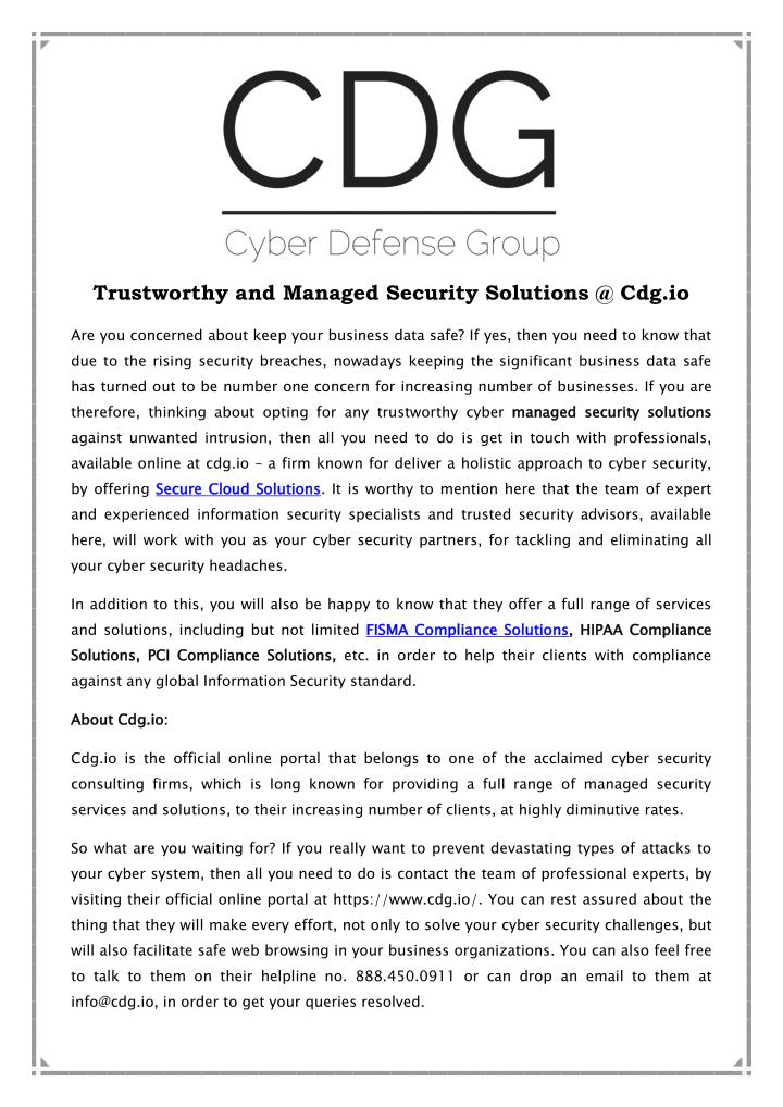 Trustworthy and Managed Security Solutions @ Cdg.io