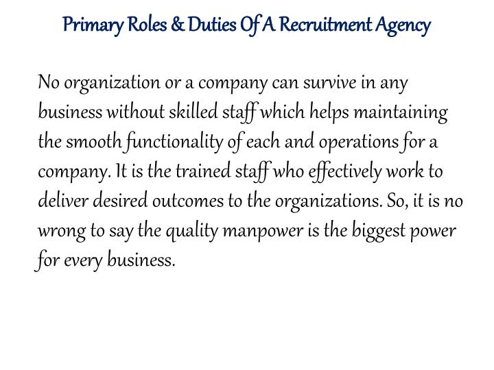 Primary Roles & Duties Of A Recruitment Agency