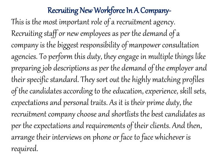 Recruiting New Workforce In A Company