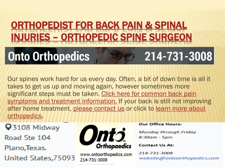 Orthopedist for back pain spinal injuries orthopedic spine surgeon