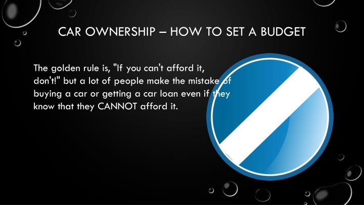 Car ownership how to set a budget