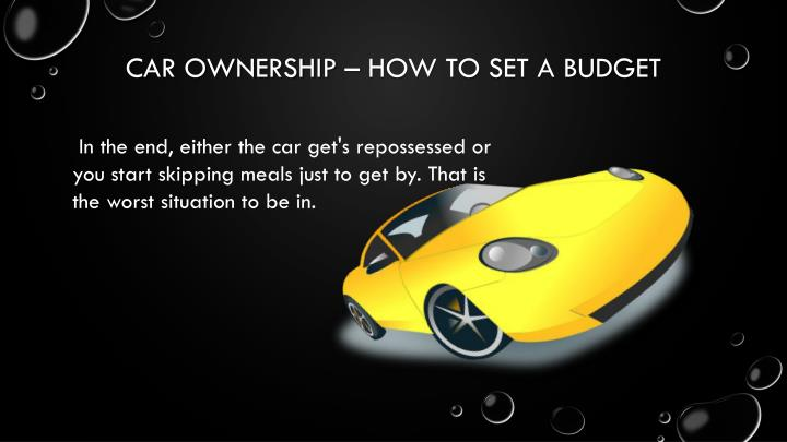Car ownership how to set a budget1