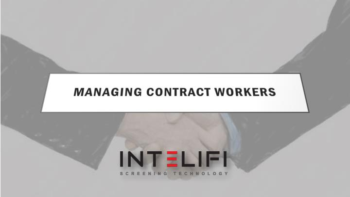 managing contract workers n.