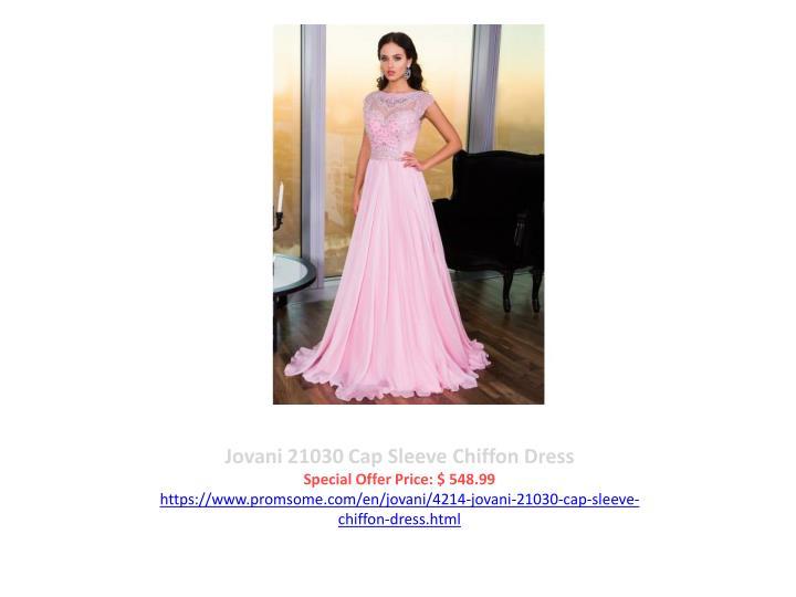 Jovani 21030 Cap Sleeve Chiffon Dress