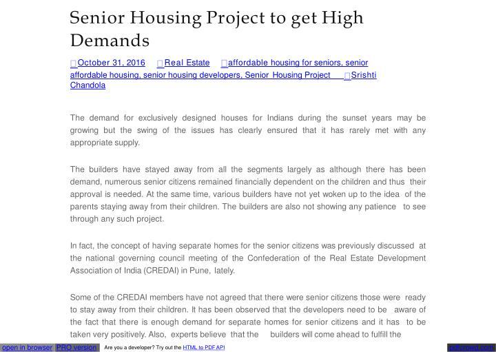 Senior housing project to get high demands