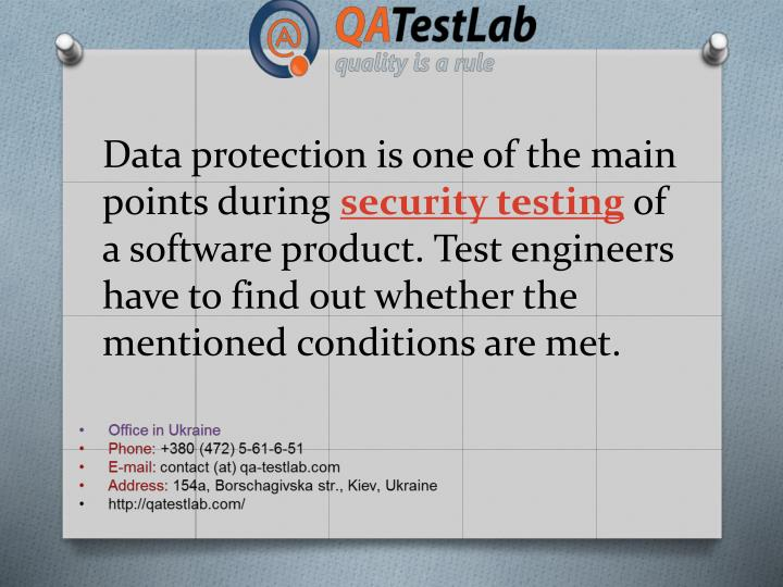 Data protection is one of the main points during
