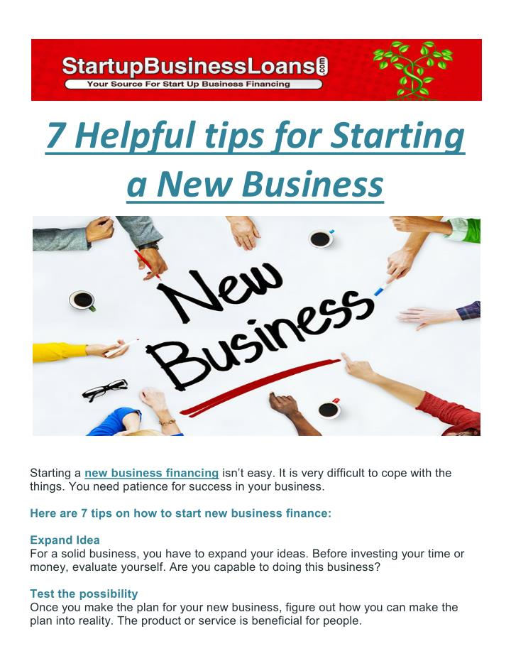 7 Helpful tips for Starting