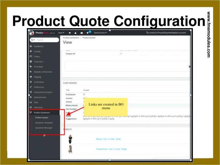 Product Quote Configuration
