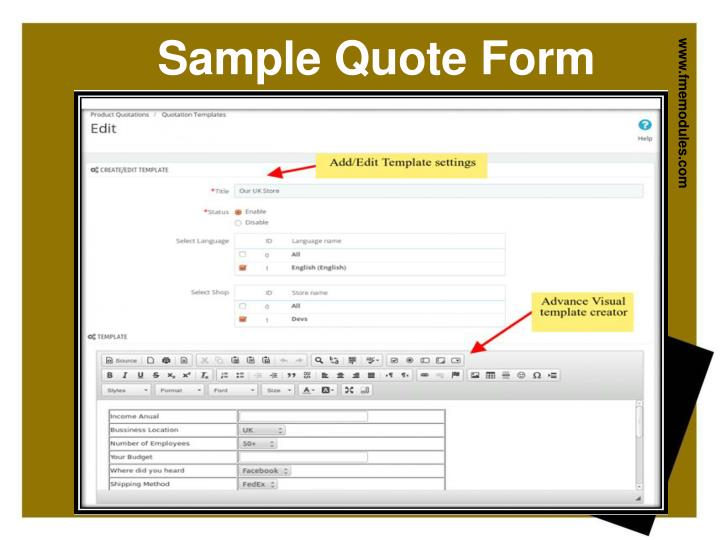Sample Quote Form