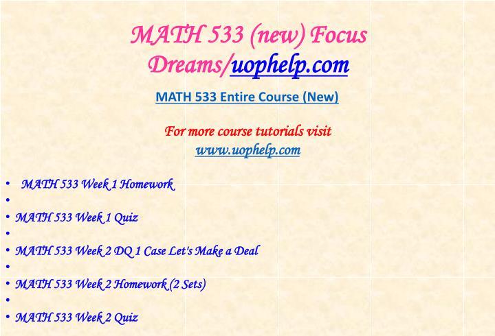 Math 533 new focus dreams uophelp com1