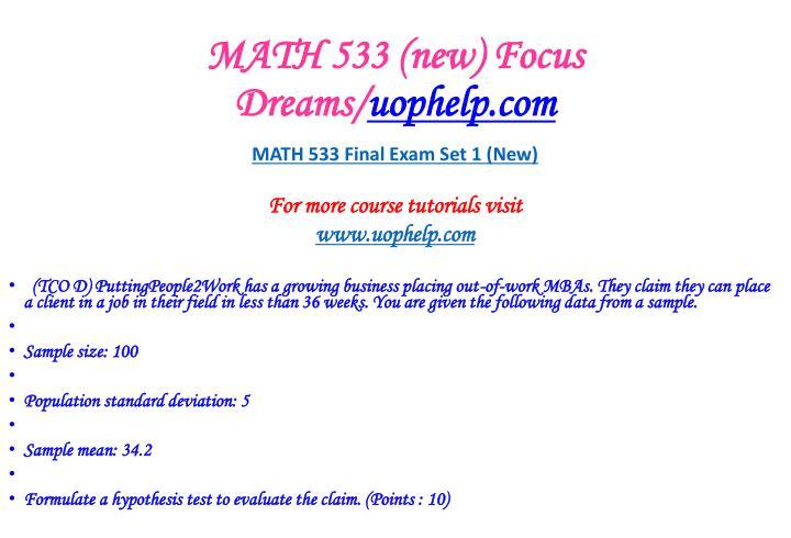 Math 533 new focus dreams uophelp com2