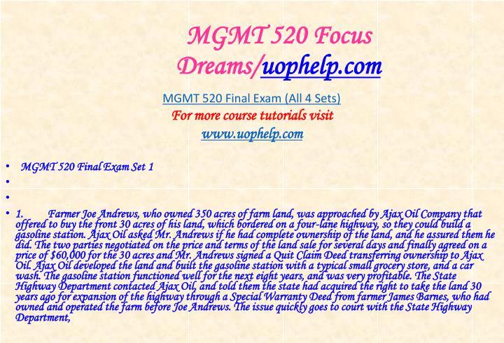 Mgmt 520 focus dreams uophelp com1