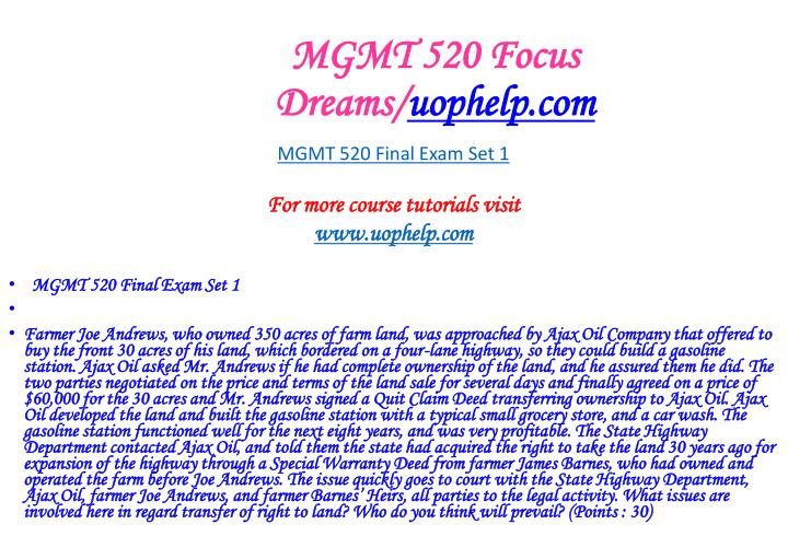 Mgmt 520 focus dreams uophelp com2