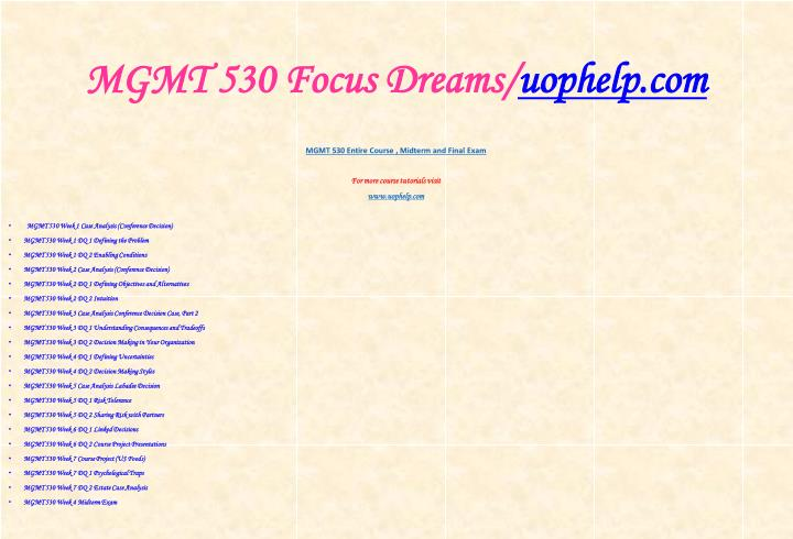 Mgmt 530 focus dreams uophelp com1