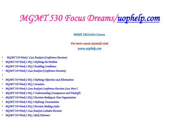 Mgmt 530 focus dreams uophelp com2