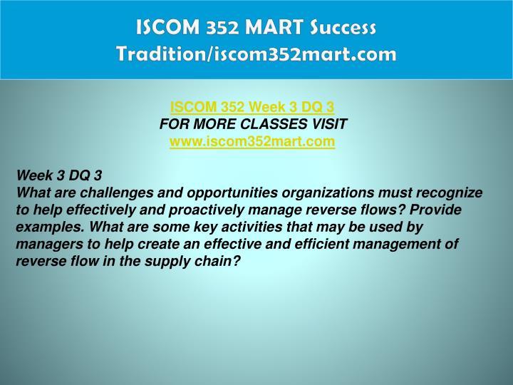 ISCOM 352 MART Success Tradition/iscom352mart.com